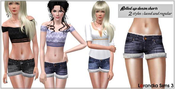 Sims 3 denim, short, roll, jeans, lace, clothes, fashion