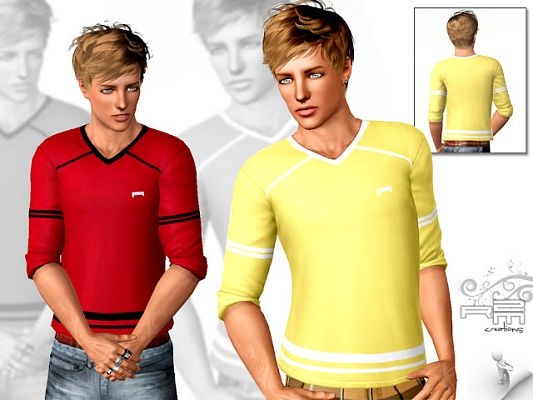 Sims 3 top, tee, shirt, males, clothing
