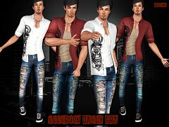 Sims 3 set, clothing, males, jeans, shirt
