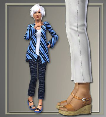 Sims 3 shoes, sandals, wedges, fashion, female