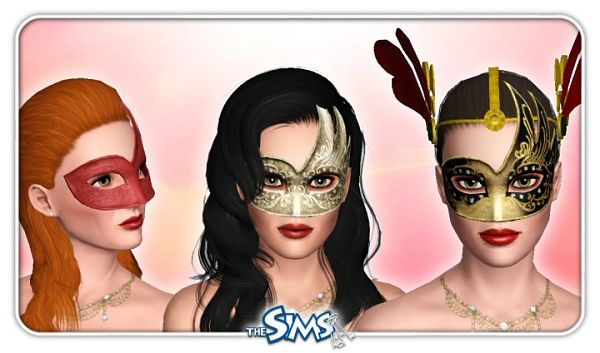 Sims 3 mask, venetian, accessories, female