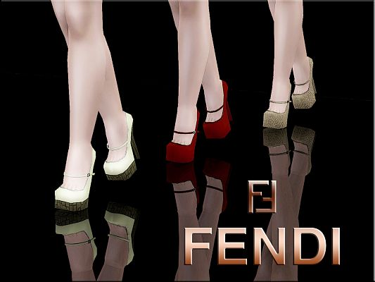 Sims 3 shoes, footwear, platforms, fendi