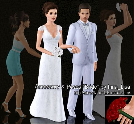 Sims 3 accessory, poses, flowers