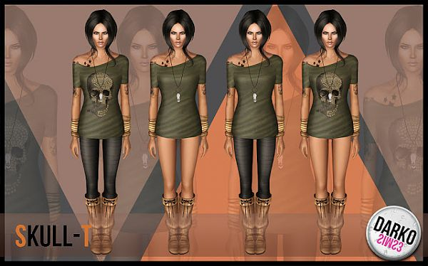 Sims 3 tee, t-shirt, female, clothes, skull