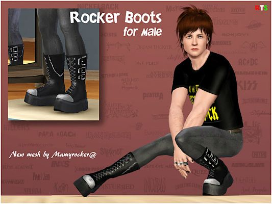 Sims 3 boots, shoes, rock, males