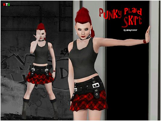 Sims 3 skirt, bottom, cloth, fashion, punk