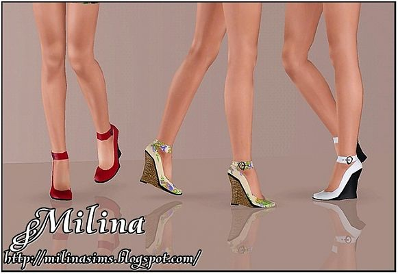 Sims 3 shoes, wedges, fashion, female