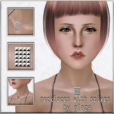 Sims 3 necklace, jewelry, spikes