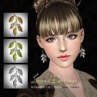 Sims 3 earrings, jewelry, accessory, leaves