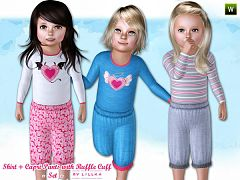 Sims 3 cloth, clothing, outfit, shirt, capri, kids