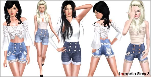 Sims 3 denim, shorts, jeans, clothes, sims3, sims 3, fashion, bottom, lace, distressed