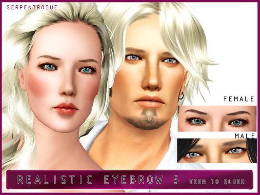 Sims 3 eyebrows, brows, genetics, female, male