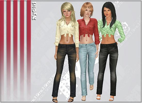 Sims 3 jeans, female, botttom, denim