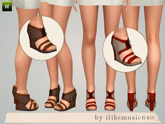 Sims 3 shoes, foowear, wedges