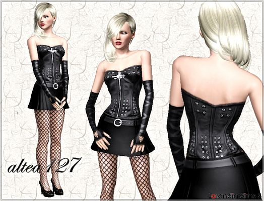 Sims 3 leather, corset, studd, top, fashion