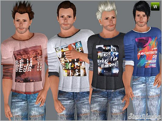Sims 3 set, fashion, males, casual