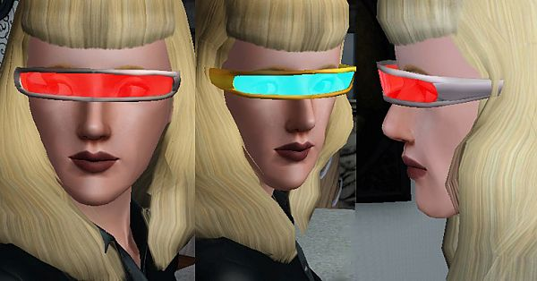 Sims 3 glasses, accesories, visor, lenses, cyborg