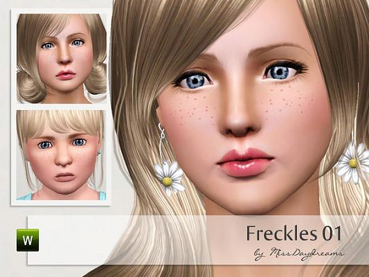 Sims 3 freckles, makeup