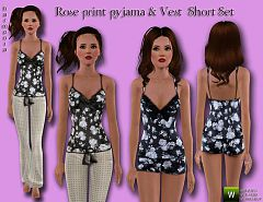 Sims 3 pijama, vest, rose, short, set, sleepwear