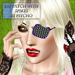 Sims 3 eye patch, spikes, accessories, female