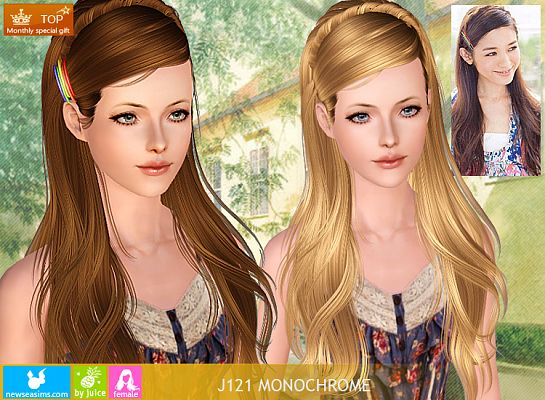 Anubis360 Newsea Sims3 Hair J121 Monochrome Frar Fryzury
