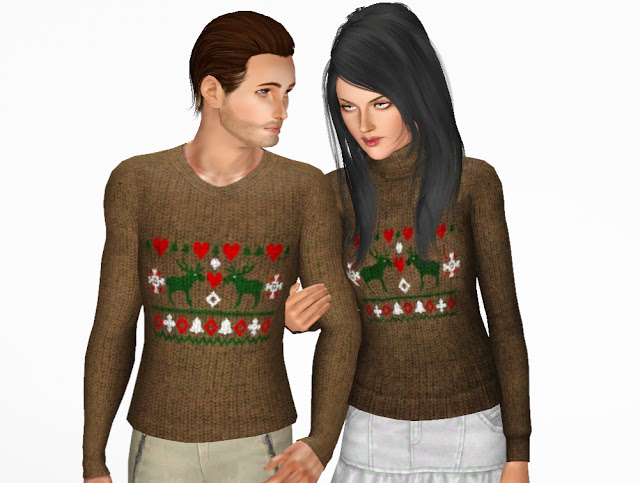 Sims 3 Updates - NY Girl Sims : His and Her Bad Christmas Sweaters ...