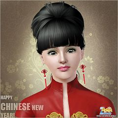 Sims 3 earrings, jewelry, happy new year, chinese, red