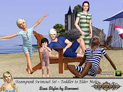 Sims 3 swim, swimsuit, clothing, male, steampunk