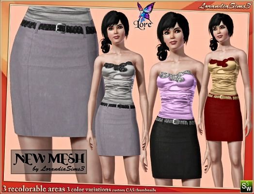 Sims 3 belt, skirt, bottom, cloth, clothes, fashion