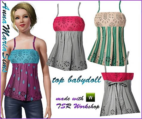 Sims 3 top, babydoll, casual, fashion, clothing