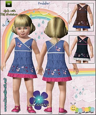 Sims 3 dress, ruffle, denim, embroidery, toddler