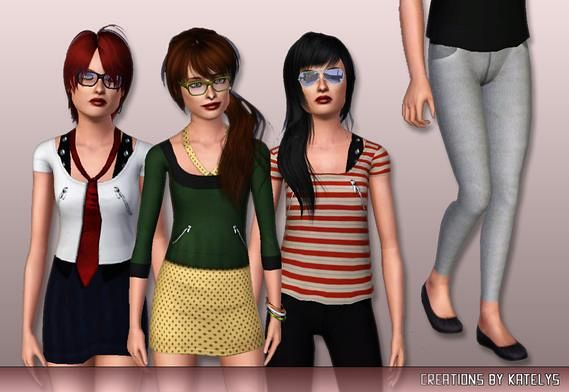 Sims 3 teen, bottom, top, fashion, clothing, outfit