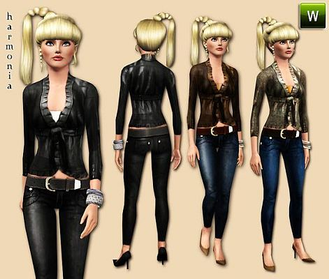 Sims 3 leather, jacket, skinny, jeans, clothing