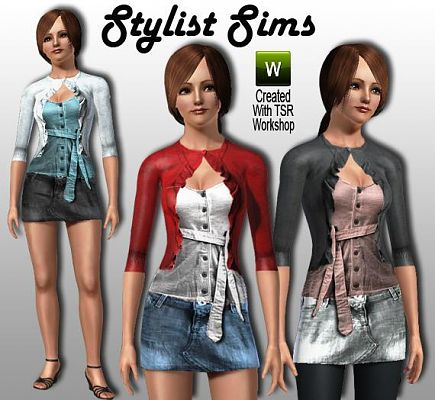 Sims 3 cardigan, top, skirt, jeans, fashion