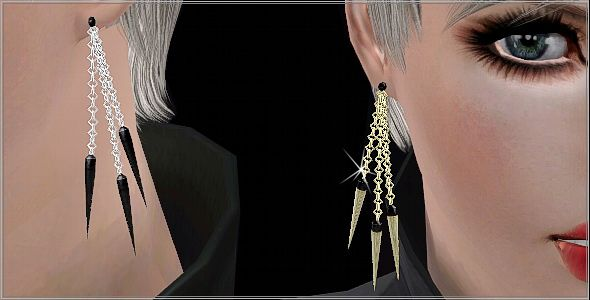 Sims 3 earrings, accessory, jewelry, spike, chain