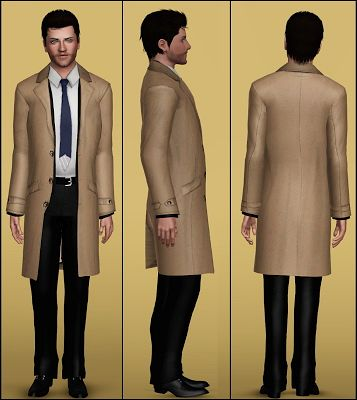 Sims 3 trench, coat, outfit males