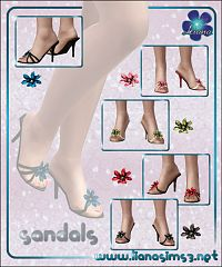Sims 3 shoes, sandals, flower, heels