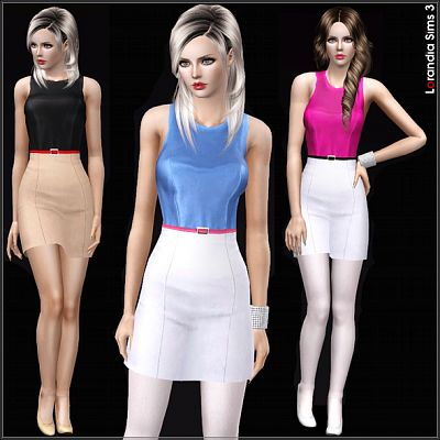 Sims 3 dress, cloth, clothing, outfit, fashion, leather