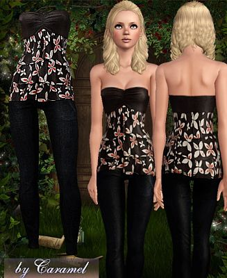 Sims 3 cloth, clothing, outfit, Caramel