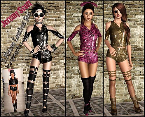 Sims 3 top, clothes, fashion, females, leather, shorts