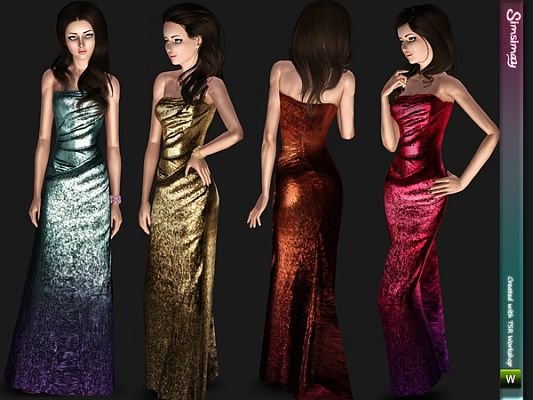 Sims 3 gown, dress, fashion, clothing