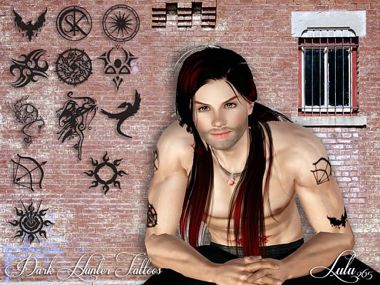 Sims 3 tattoo, accessories, male