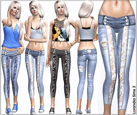 Sims 3 jeans, denim, bottom, lace