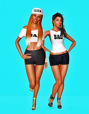 Sims 3 top, tee, shorts, hats