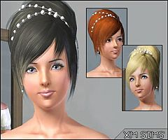 Sims 3 hairstyle, bridal, pearls