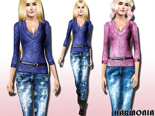 Sims 3 jeans, top, sweater