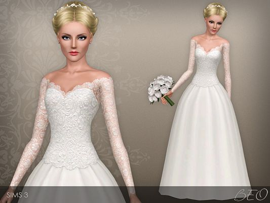 Sims 3 dress, outfit, wedding