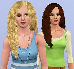 Sims 3 hair, hairstyle, long, curly