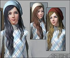 Sims 3 hairstyle, cap, long
