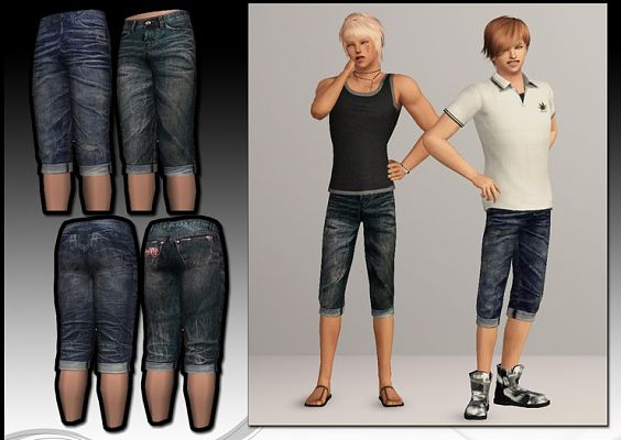 Sims 3 jeans, male, shorts, clothing
